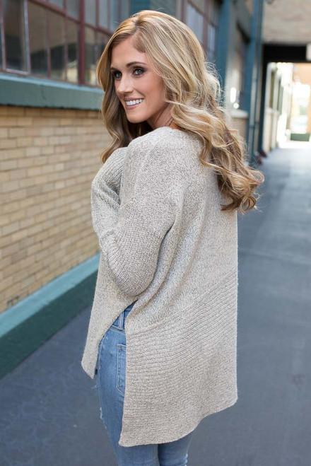 Side Split Sweater - Beige Multi - FINAL SALE