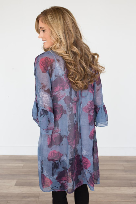 Rose Lace Up Back Kimono - Slate/Purple - FINAL SALE