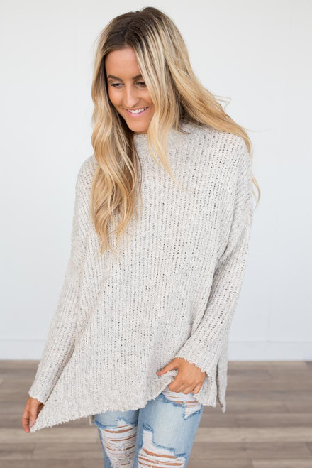 Mock Neck Open Knit Sweater - Oatmeal - FINAL SALE