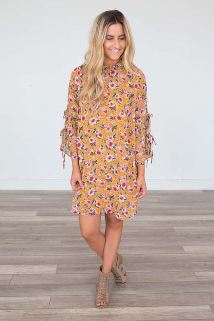 Mock Neck Floral Tie Sleeve Dress - Mustard - FINAL SALE