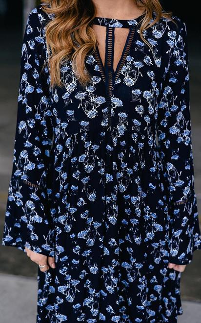 Floral Bell Sleeve Cutout Dress - Navy - FINAL SALE
