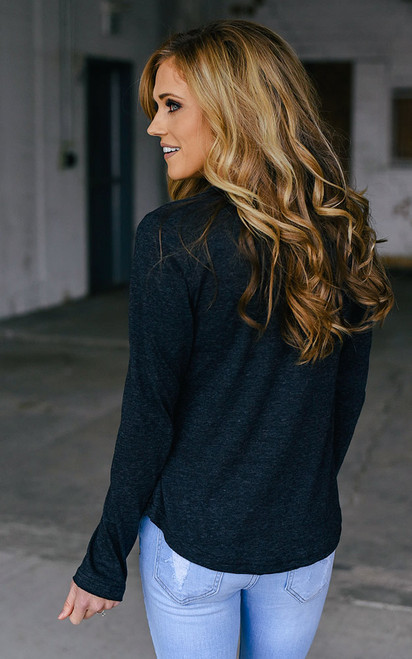 Long Sleeve Scoop Neck Tee - Heather Black - FINAL SALE