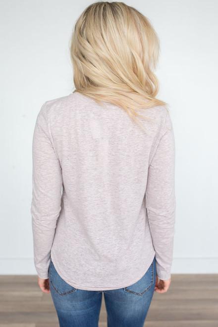 Long Sleeve Scoop Neck Tee - Heather Taupe - FINAL SALE