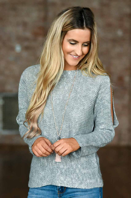Open Shoulder Sweater - Heather Grey - FINAL SALE