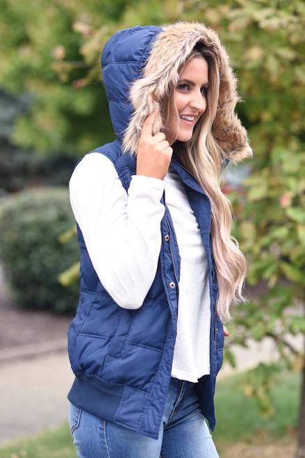 Faux Fur Hooded Vest - Navy - FINAL SALE