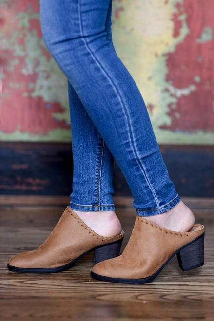 Faux Suede Stitched Mules - Tan - FINAL SALE