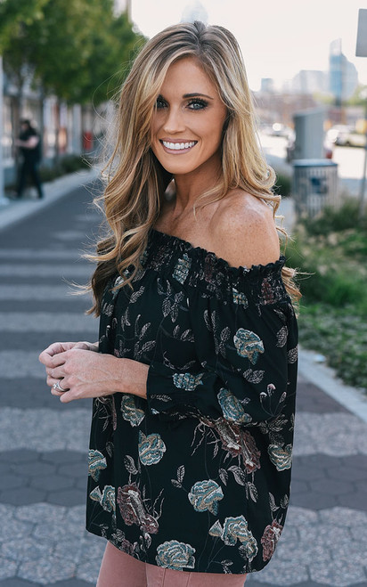 Off the Shoulder Floral Top - Black - FINAL SALE