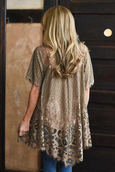 Short Sleeve Lace Kimono - Mocha - FINAL SALE