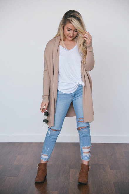 Draped Front Ribbed Cardigan - Taupe - FINAL SALE