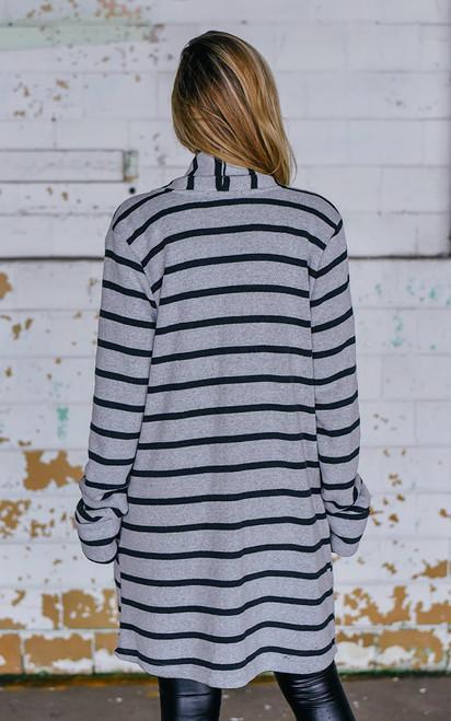 Hallows Edge Striped Cardigan - Grey/Black - FINAL SALE