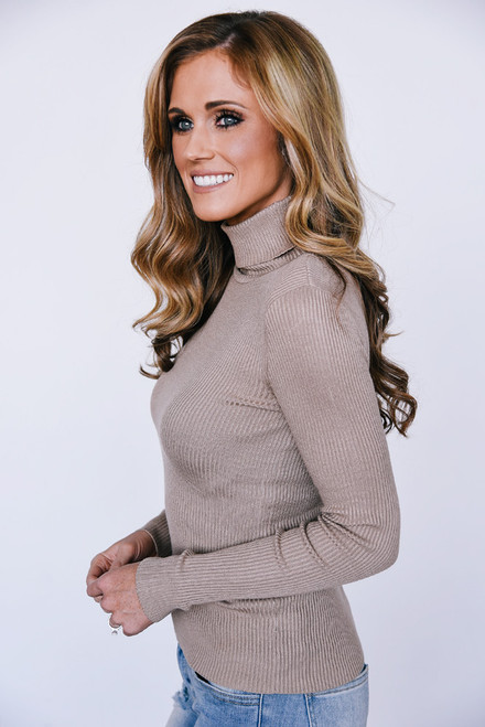 Ribbed Knit Turtleneck Top - Taupe - FINAL SALE