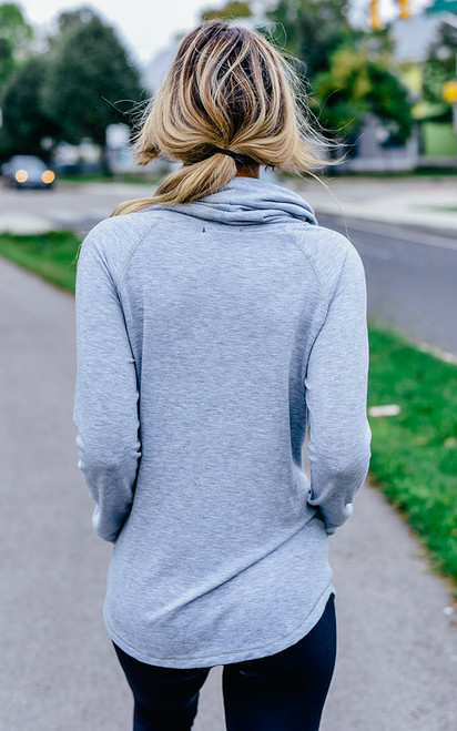 Cowl Neck Sweatshirt - Heather Grey - FINAL SALE