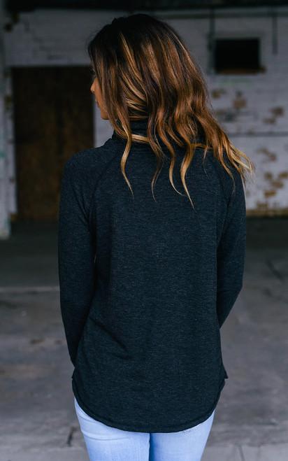 Cowl Neck Sweatshirt - Heather Charcoal - FINAL SALE