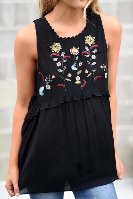 Floral Embroidered Babydoll Top - Black - FINAL SALE
