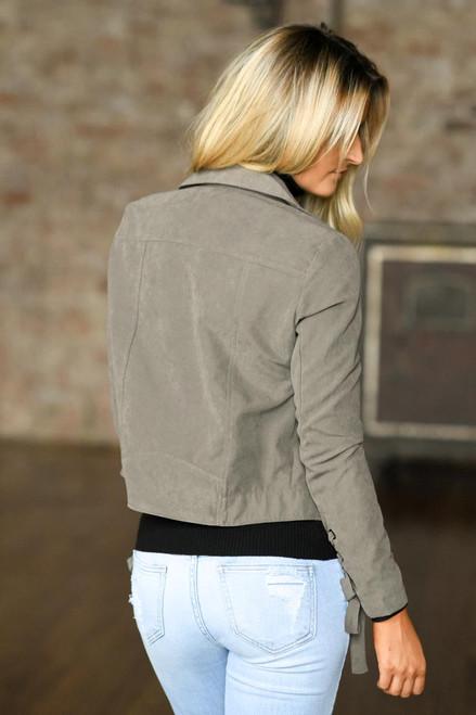Lace Up Detail Moto Jacket - Mocha  - FINAL SALE
