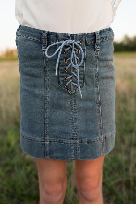 Kids Lace Up Denim Skirt - Medium Wash - FINAL SALE
