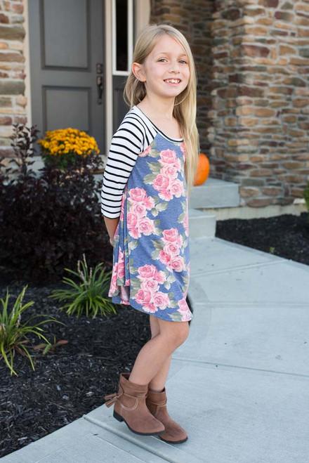Kids Mixed Print Raglan Dress - Navy Multi - FINAL SALE