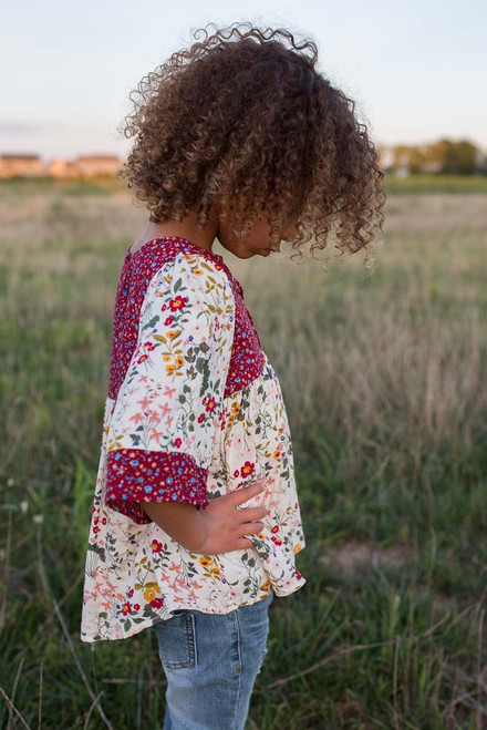 Kids Floral Lace Up Blouse - Burgundy Multi - FINAL SALE