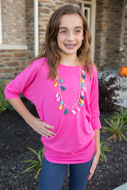 Kids Dolman Knit Top - Hot Pink - FINAL SALE