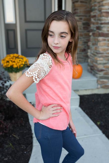 Kids Crochet Sleeve Top - Coral - FINAL SALE