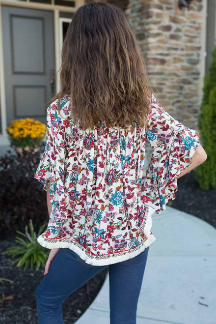 Kids Floral Print Fringe Top - Berry Multi - FINAL SALE