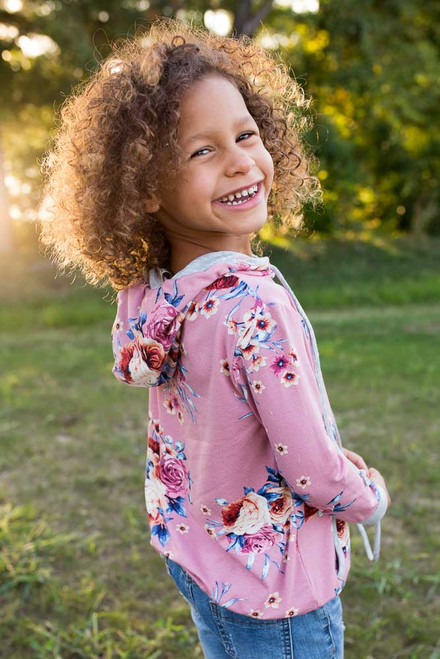 Kids Floral Print Hoodie - Mauve - FINAL SALE