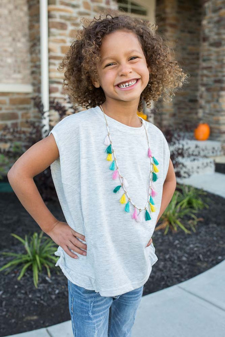 Kids Ruffle Detail Top - Heather White - FINAL SALE