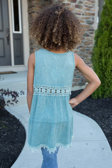 Kids Crochet Detail Tunic - Dusty Mint - FINAL SALE
