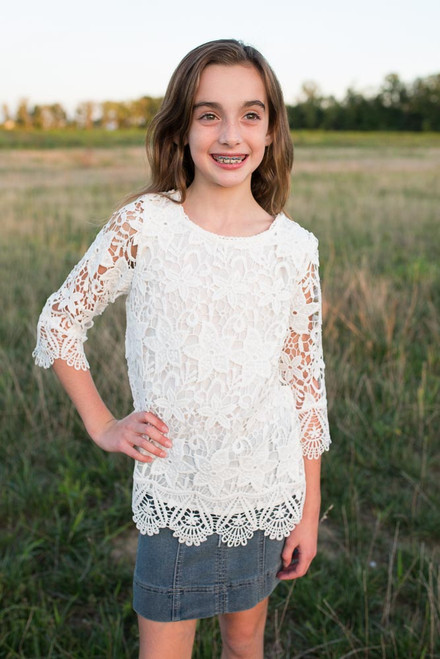 Kids Crochet Overlay Top - White - FINAL SALE