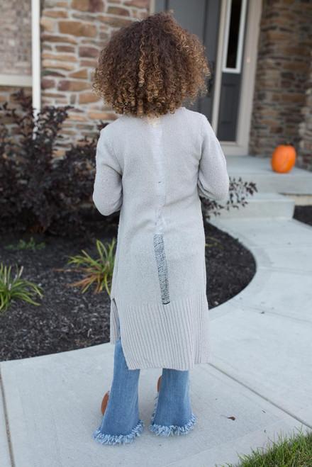 Kids Distressed Detail Cardigan - Grey - FINAL SALE