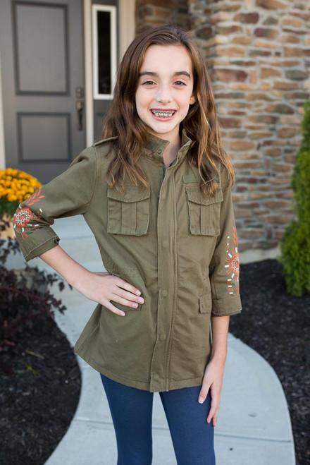 Kids Embroidered Cargo Jacket - Olive - FINAL SALE