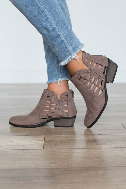 Cutout Ankle Booties - Taupe - FINAL SALE