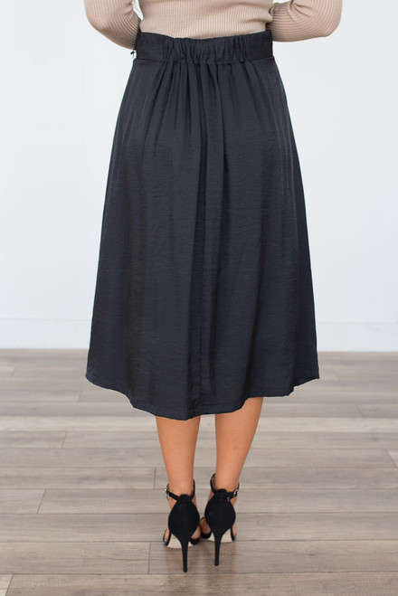Drawstring Satin Midi Skirt - Black - FINAL SALE