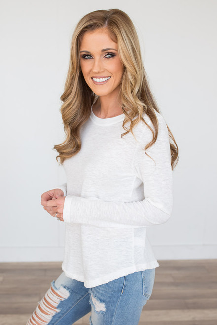 Long Sleeve Scoop Neck Tee - White - FINAL SALE