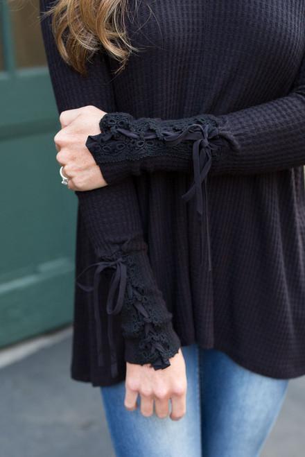 Sleeve Detail Waffle Knit Top - Black - FINAL SALE