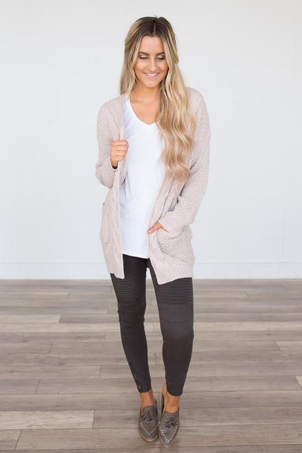 Cable Knit Pocket Cardigan - Light Pink - FINAL SALE