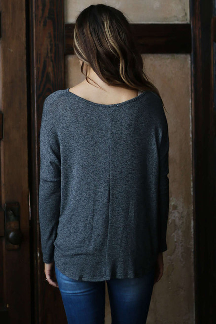 V-Neck Twisted Hem Top - Heather Charcoal - FINAL SALE