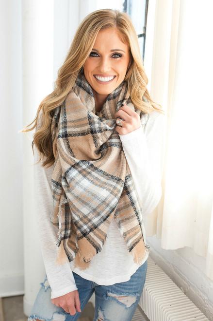 Plaid Blanket Scarf - Beige/Grey/Black