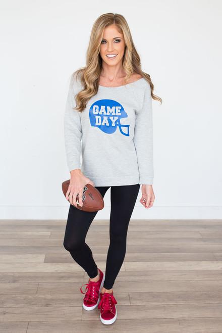 Game Day Terry Sweatshirt - Heather Grey - FINAL SALE