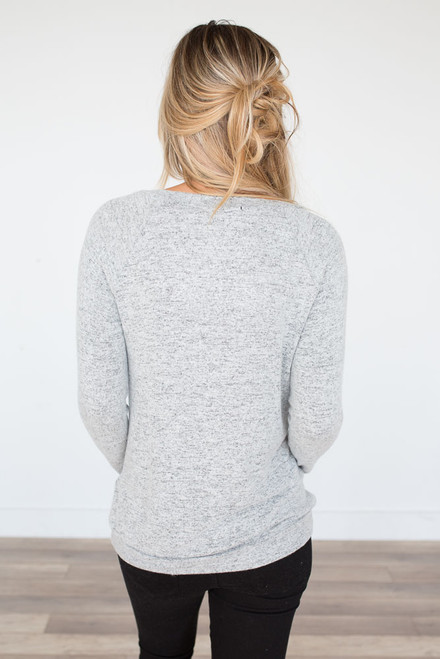 Soft Brushed Pocket Pullover - Heather Grey