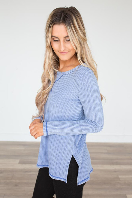 Contrast Stitch Thermal Top - Periwinkle - FINAL SALE