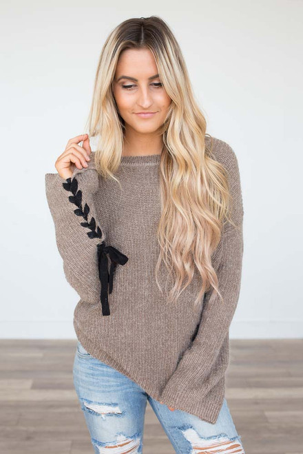 Tie Sleeve Sweater - Mocha - FINAL SALE