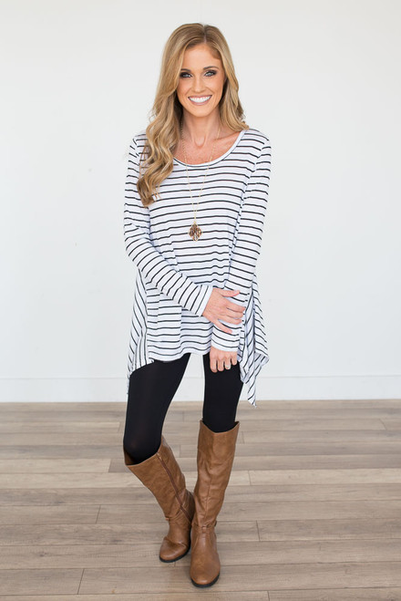Long Sleeve Striped Handkerchief Tunic - White/Black - FINAL SALE