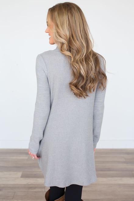 Button Detail Turtleneck Tunic Dress - Heather Grey - FINAL SALE