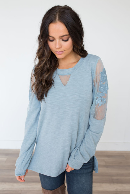 Lace Detail Terry Top – Dusty Blue