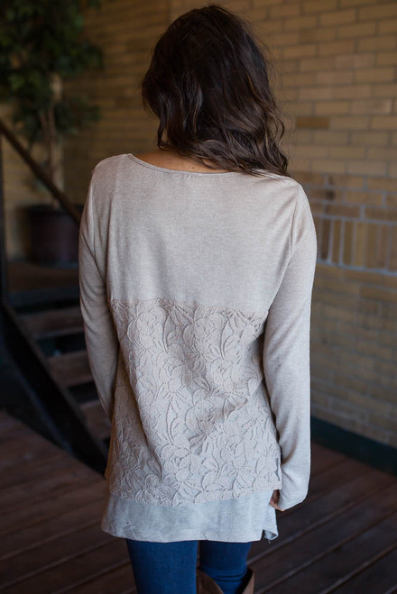 Layered Lace Detail Top - Taupe