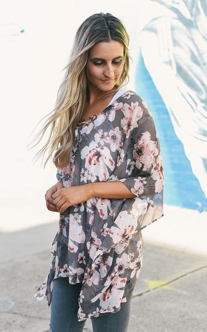 Floral Print Chiffon Tunic – Taupe Multi - FINAL SALE