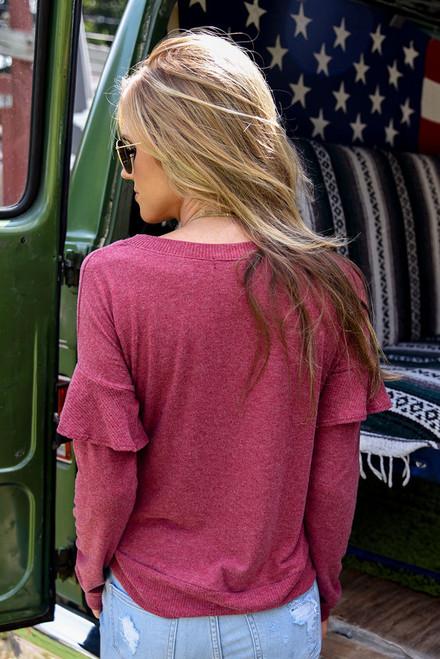 Soft Brushed Ruffle Sleeve Top – Crimson - FINAL SALE