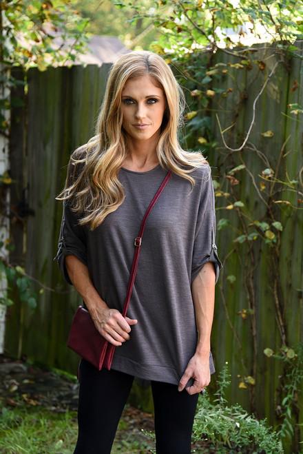 Roll Tab Side Slit Sweater – Heather Grey - FINAL SALE