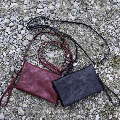 Faux Leather 3 in 1 Handbag - Black - FINAL SALE
